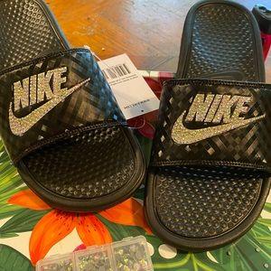 I Blinged the Nike Slides